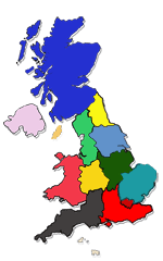 Image map with links to regions.  The map is followed by a list containing the same links.